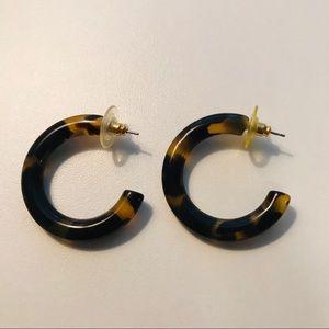 Vintage 1980's Tortoiseshell Hoop Earrings